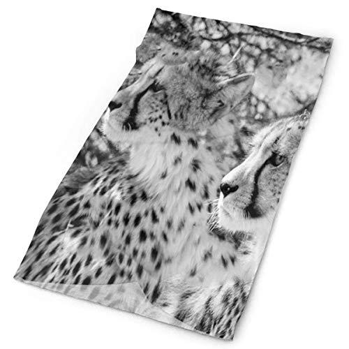 NA Foulard Demi-Visage, décoration faciale léopard Noir et Blanc, Bandeau Magique 12-en-1 pour Femmes Hommes, 25X50Cm