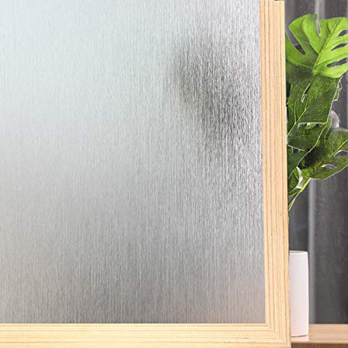"""Privacy Window Film No Glue Frosted Glass Sticker for Home Office Static Anti-UV Window Paper Decorative Window Covering for Bathroom (Silver Raindrop, 17.5"""" x 78.7"""")"""