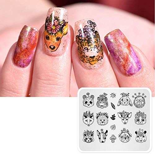 Zoo Nail Stamping Plates Stamper Nail Fox Tiger Template Manucure Nail Stencil Tool Templates Decorations Stamp