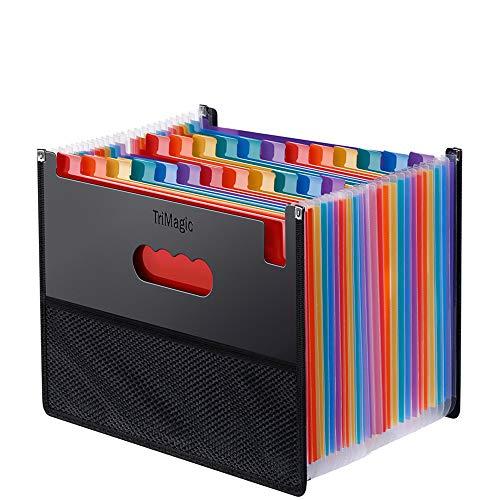 Expanding Accordion File Folder 24 Pockets, Trimagic Filing Box with Unique Mesh Bag Design, Alphabetical Expandable File Organizer for Document Paperwork Tax Bill or Receipt-01