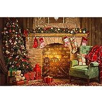 Sndy 7X5Ftクリスマスツリー暖炉椅子ギフト写真撮影の背景スタジオプロップ背景