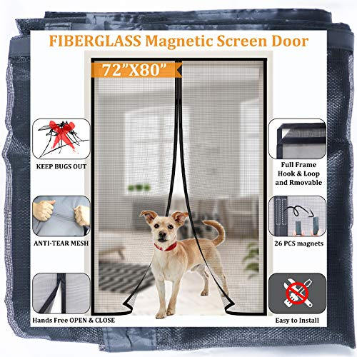 """Magnetic Screen Door for French Door/Sliding Door 72''x80"""",Reinforced Fiberglass Retractable Double Door Screen Magnetic Closure with Full Frame Seal, Kids/Pets Entry Friendly,by Dysome"""