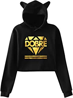HiPiClothK Womens Dobre Brother Logo Gold Casual Style Comfortable Printing Long Sleeve Crop Top Cat Ear Hoodie