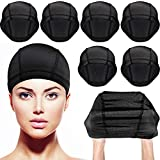 Dome Caps Stretchable Wigs Cap Spandex Dome Style Wig Caps For Men Women (8 Pack, Black Nylon Wig Caps)