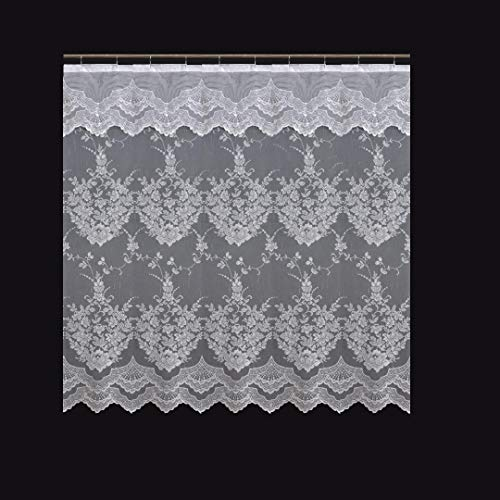 Romance Lace Flower Shower Curtain with an Attached Valance, 70 X 72 Long (White)