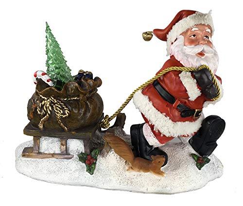 GMMH Weihnachten Gartenfigur 28 cm Hoch 36209 Gartendeko Nikolaus Figur Gartenzwerg Weihnachtsmänner Gartenzwerg Zwerg Wiehnachtsmann Leuchtend
