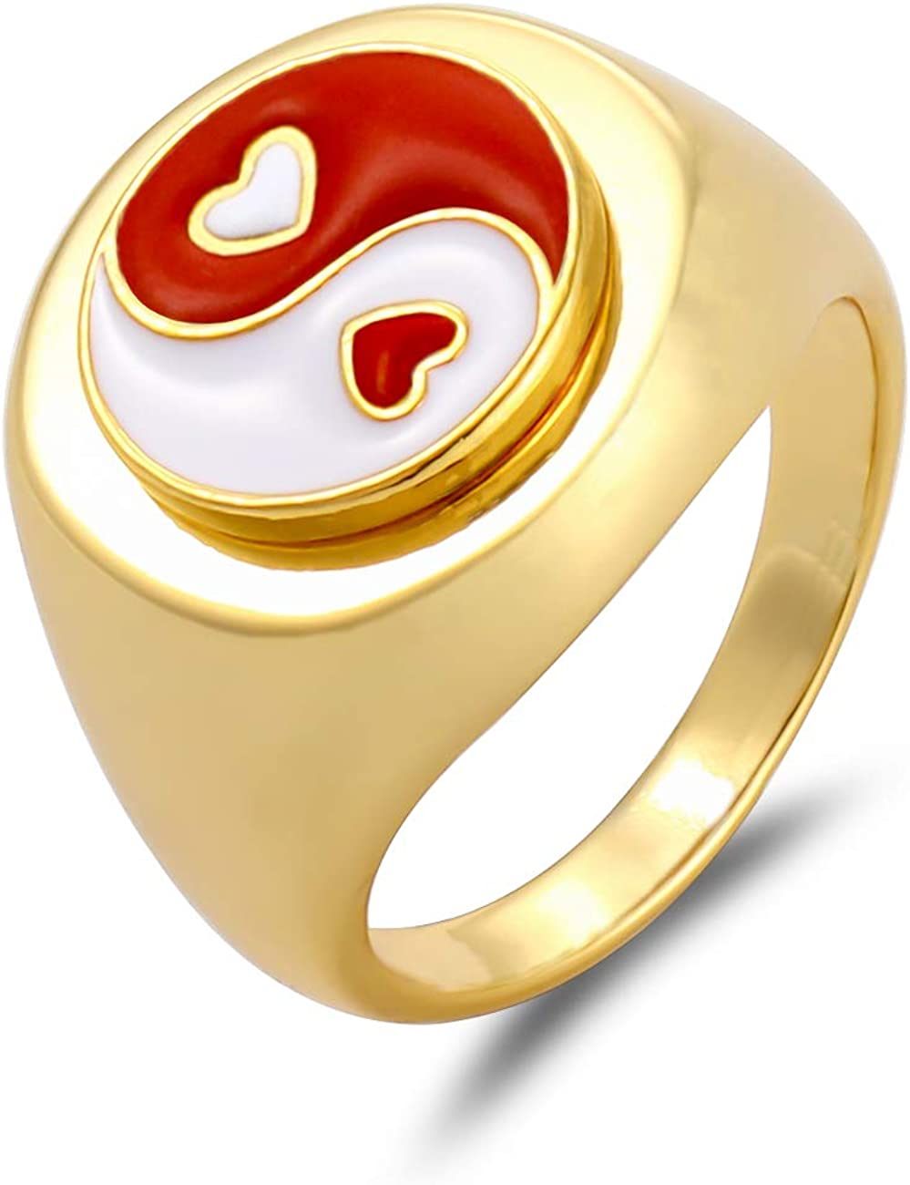 Enamel Yin Yang Ring for Women Vintage Daisy Flower Rings Clover Lucky Finger Ring Rose Infinity Chrysanthemum 18K Gold Stainless Steel Statement Ring for Girl (Tai Chi-Red, 19.1mm)
