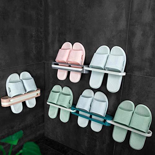 Maiqi Estante plegable tres en uno zapatero perforado gratuito zapatero montado en la pared estante de baño toallero (azul/rosa/gris)