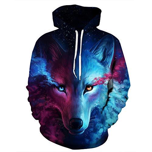 Générique Blousons Tête de Loup Glace feu Loup Impression 3D personnalité Pull à Capuche Hommes Mince Pull Ample Bleu XL