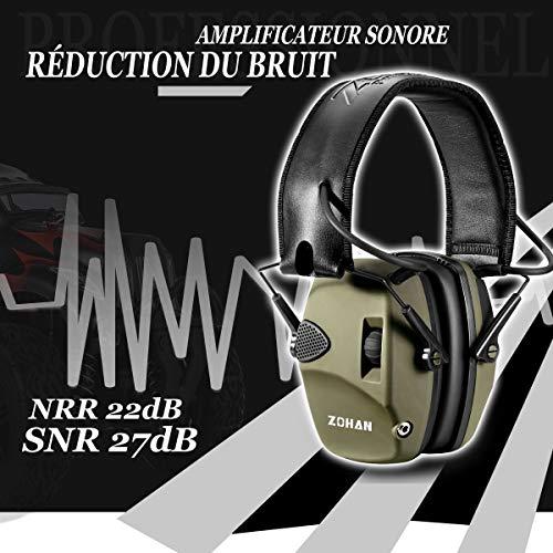 ZOHAN 054 Casque Anti Bruit de Tir Electronique Coussinets d'oreille Remplaçable, NRR 22dB Réducteur de Bruit Réglable,Protection Auditive de Chasse Amplificateur Sonore (Vert sans boîte)
