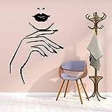 Creativo Labbra e Unghie Adesivi Murali Salone di Bellezza Salone di Bellezza Adesivi Murali Labbra Viso Ragazze Camera Da Letto Adesivi Murali Art Déco A7 28x39cm