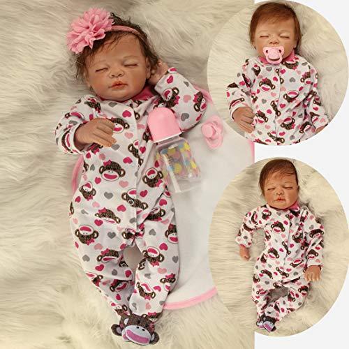 AIBAOLIAN Reborn Baby Puppen 55 cm 22 Zoll Weiche Silikon Vinyl Handgemachte Realistische Real Life Baby Mädchen Puppen Augen geschlossen Neugeborenen Baby