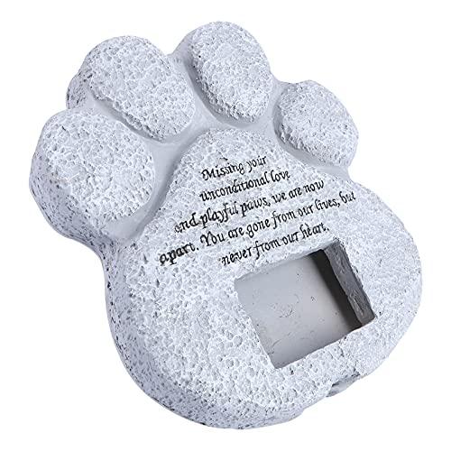 YARNOW Perro Conmemorativo Piedra Impresión de La Pata de Mascota Lápida Marco de La Foto de La Lápida de La Lápida de La Lápida del Recuerdo de La Lápida del Recuerdo de La Memoria