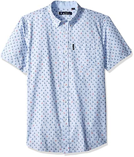 Ben Sherman Men's SS Sailboat Print Shirt, Light Blue, XXL