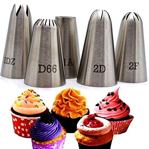 Piping Tips Large Cake Decorating Tools, 5 Pack Cake Piping Nozzles Tips...