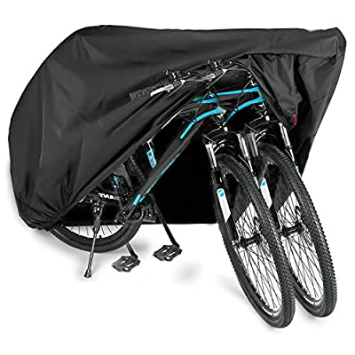 WAEKIYTL Bike Cover Waterproof Outdoor XL XXL Bicycle Cover for 2 Bikes Oxford Fabric Rain Sun UV Dust Wind Proof Motorcycle Covers for Mountain Road Electric Bike Tricycle Cruiser - Black XXL 420D