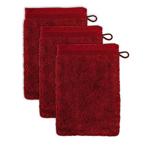 möve Superwuschel Waschhandschuh 15 x 20 cm aus 100% Baumwolle, ruby 3er Set