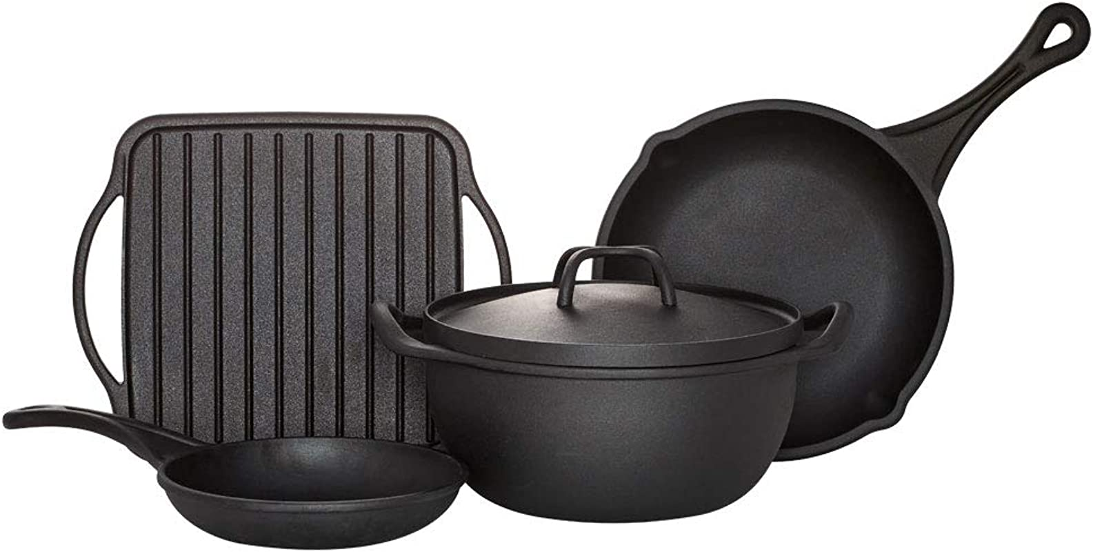 Sabatier 5192254 Rust Resistant Pre Seasoned Cast Iron Pans Various Black
