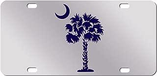 JASS GRAPHIX Navy Palm Tree Crescent Moon Mirror License Plate South Carolina Beach Logo Car Tag