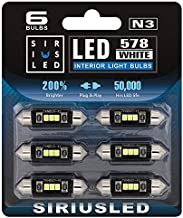 """SIRIUSLED N3 578 LED bulbs Pure white Super Bright LED Festoon 300 Lumens 3030 Chipset for Car Truck Interiors Dome Map Door Courtesy Lights 1.72"""" 41MM 211-2 212-2 569 size pack of 6"""