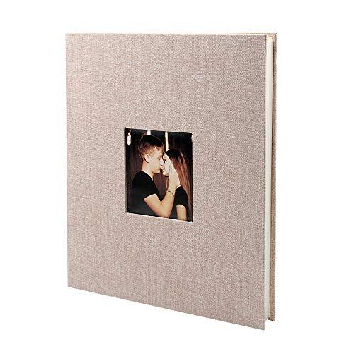 VEESUN Álbum de Fotos para Pegar Lino Álbum Scrapbooking DIY Scrapbook Boda del cumpleaños del día de San valentín niña su mamá Amigas, Beige