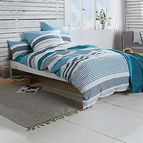 REDBEST Bettwäsche, Bettgarnitur Renforcé Petrol Größe 135x200 cm (40x80 cm) - mit praktischem Reißverschluss anschmiegsam, strapazierstark, 100% Baumwolle