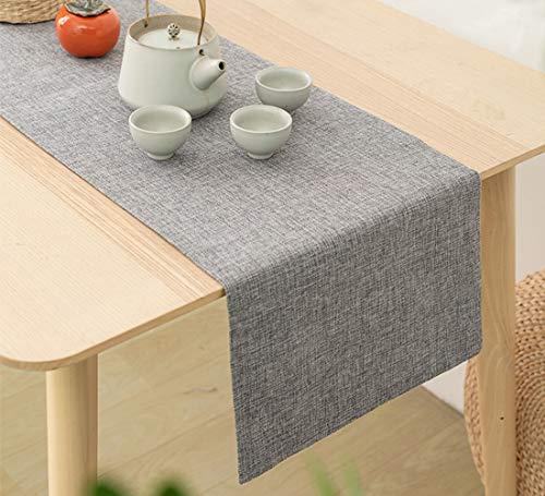 Camino de mesa clásico tapete de mesa para cocina, cena, mesa de café, fiesta, decoración de boda, gris, 31,7 x 199,4 cm