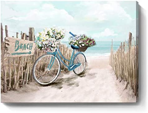 Beach Canvas Wall Art for Bathroom Ocean Pictures Seaside Bicycle Canvas Print Seascape Painting product image