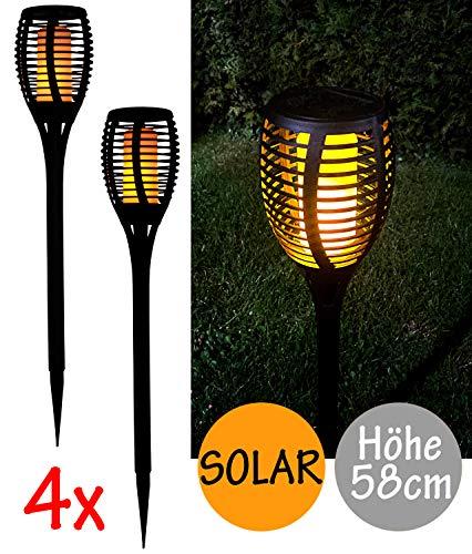 4er Set LED Solarfackel Solar Fackel flackernde Flamme Garten Außen Leuchte Feuer Effekt
