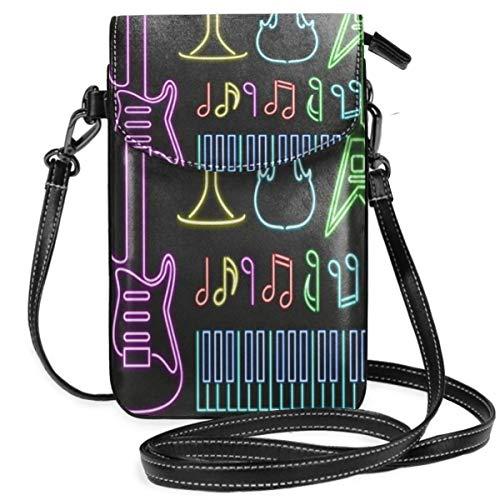Instrumentos musicales pequeño Crossbody teléfono celular bolso monedero monedero con correa extraíble