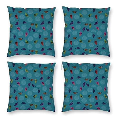 Pillow Covers 18 x 18 Inch Set of 4, Floral Vintage Abstract Doodle Design Colorful Leaves with Spots Continous, Multicolor Decorative Throw Pillow Case Cushion Cover for Sofa Couch Sofa Home Decor