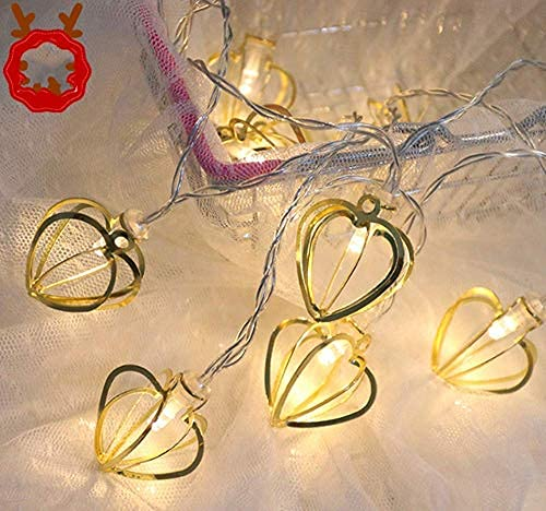 YXYY Geometric String Lights, 1.2M 10 LEDs Heart Fairy String Lights Geometric Rose Gold Metal Fairy Lights Battery For garden outdoor party