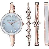 Anne Klein Women's AK/3352GYST Swarovski Crystal Accented Rose Gold-Tone Bangle Watch and Bangle Set