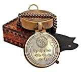 Hanzla Collection 'Not All Those Who Wander are Lost Antique Brass Pocket Compass, Engravable Camping Compass with Leather Case