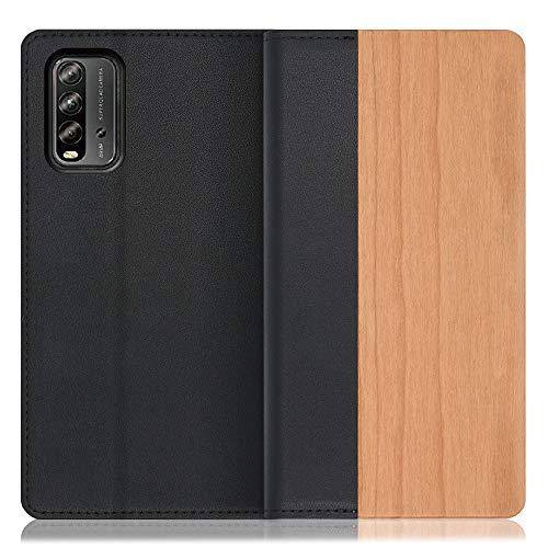 LOOF Nature Xiaomi Redmi 9T ケース 手帳型 カバー 本革 天然木 ベルト無し ウッド 木製 木 カード収納 カードポケット 本革 高級 スタンド機能 手帳型ケース スマホケース (桜)