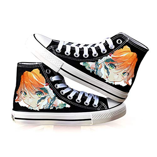 JPTYJ The Promised Neverland High Top Graffiti Unisex High Top Zapatos Anime Casual Shoes Estudiantes Canvas Shoes Sneakers C-39