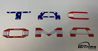 BDTrims Domed Tailgate Letters Inserts fits 2016-2020 Tacoma Models (USA Flag Reflective)