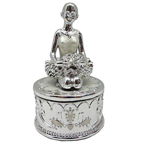 Stupendo portagioie con ballerina, in argento smaltato, con elegante statuetta a forma di ragazza, idea regalo romantica, 9 cm di altezza