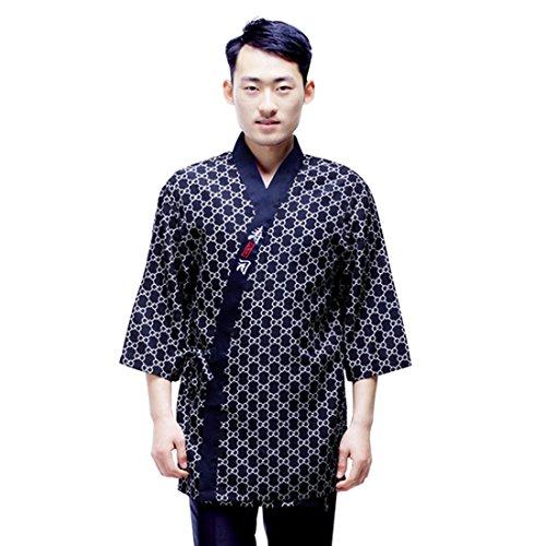 Jiyaru Unisex Chef Jacke Uniformen japanischen Stil für Sushi Shop Kellner Kellnerin Arbeitskleidung XL