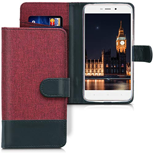 kwmobile Xiaomi Redmi 4A Hülle - Kunstleder Wallet Case für Xiaomi Redmi 4A mit Kartenfächern & Stand - Dunkelrot Schwarz