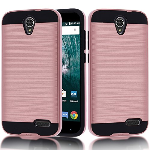 ZTE Grand X3 Case, Warp 7 Case, ZTE Z959 Case, ZTE N9519 Case,Kmall [Metal Brushed Texture] Impact Resistant Heavy Duty Hybrid Dual Layer Full-Body Shockproof Protective Cover Skin Shell [Rose Gold]