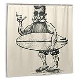 LiBei Cortina de Ducha,Hipster Surfer Beard Bigote Gafas de Sol y Tabla de Surf Grabado Linograbado Hombre Tela Baño Decoración Set con Ganchos 180cmx180cm