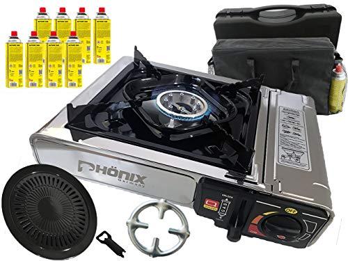 Phönix PC-20 - Hornillo de gas de acero inoxidable para camping (1 fuego, accesorio para barbacoa, 8 cartuchos de gas, cruz de cocina, bolsa de transporte y maletín)