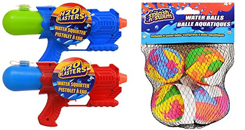 Collective Bargain 2 Water Gun Soakers with 4 Swim Splashing Balls. Summer Beach Spring Outdoor Pool Bundle. Great for Kids and Children Fun Toys. Birthday I Deal.