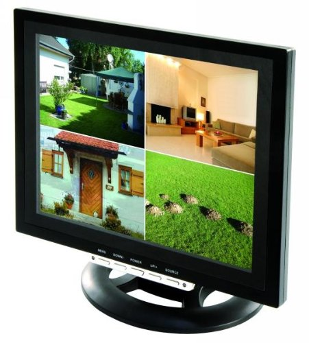 HaWoTEC 12' (30,48cm) TFT LCD Split Quadbild Monitor für Überwachung Video Überwachungsmonitor für bis zu Vier Überwachungskameras BNC RCA