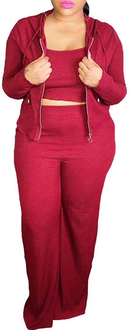 Women's Plus Size Crop Top Hoodie Jacket and Wide Leg Long Pants Jumpsuit Romper Set Three Piece Sets Outfit