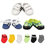 Miunana 9 Pairs of Shoes for American 18 Inch Boy Doll Shoes Include 3 Sneakers + 6 Pair Free Socks for American 18 Inch Gril Boy Doll