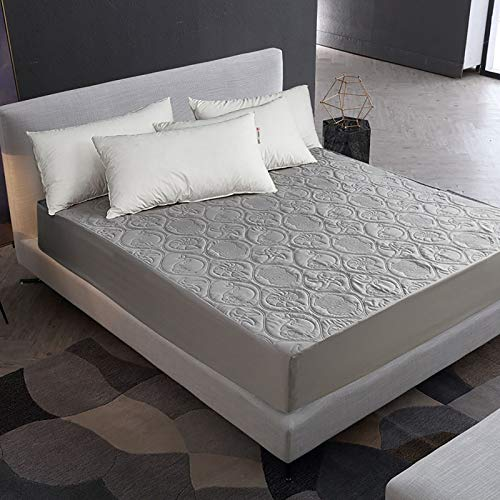 LISI Waterproof Mattress Protector Full Size Embossing Mattress Cover 100% Polyester Microfiber Fitted Stain Proof for Double and Single,Gray,140x200x30cm