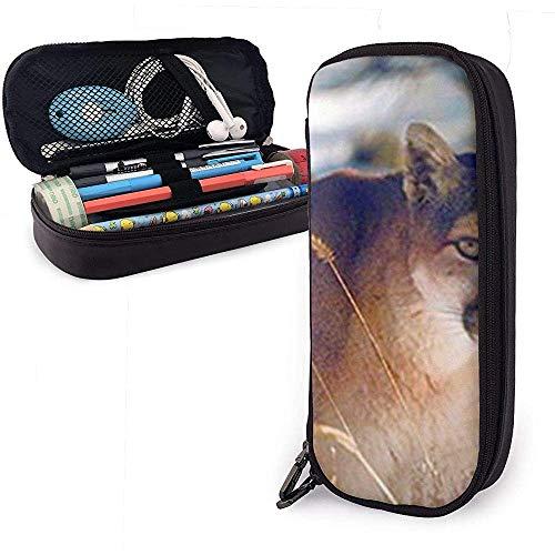Wilde Puma im Schnee Wildlife Mountain niedlichen Stift Federmäppchen Leder große Kapazität Doppelreißverschlüsse Bleistift Tasche Stifthalter Box 20 * 9 * 4cm