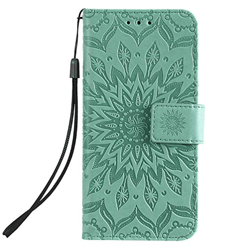 Flip Case Fit for Samsung Galaxy S10e, Extra-Shockproof Card Holders Kickstand Green Leather Cover Wallet for Samsung Galaxy S10e by TemplarMoon